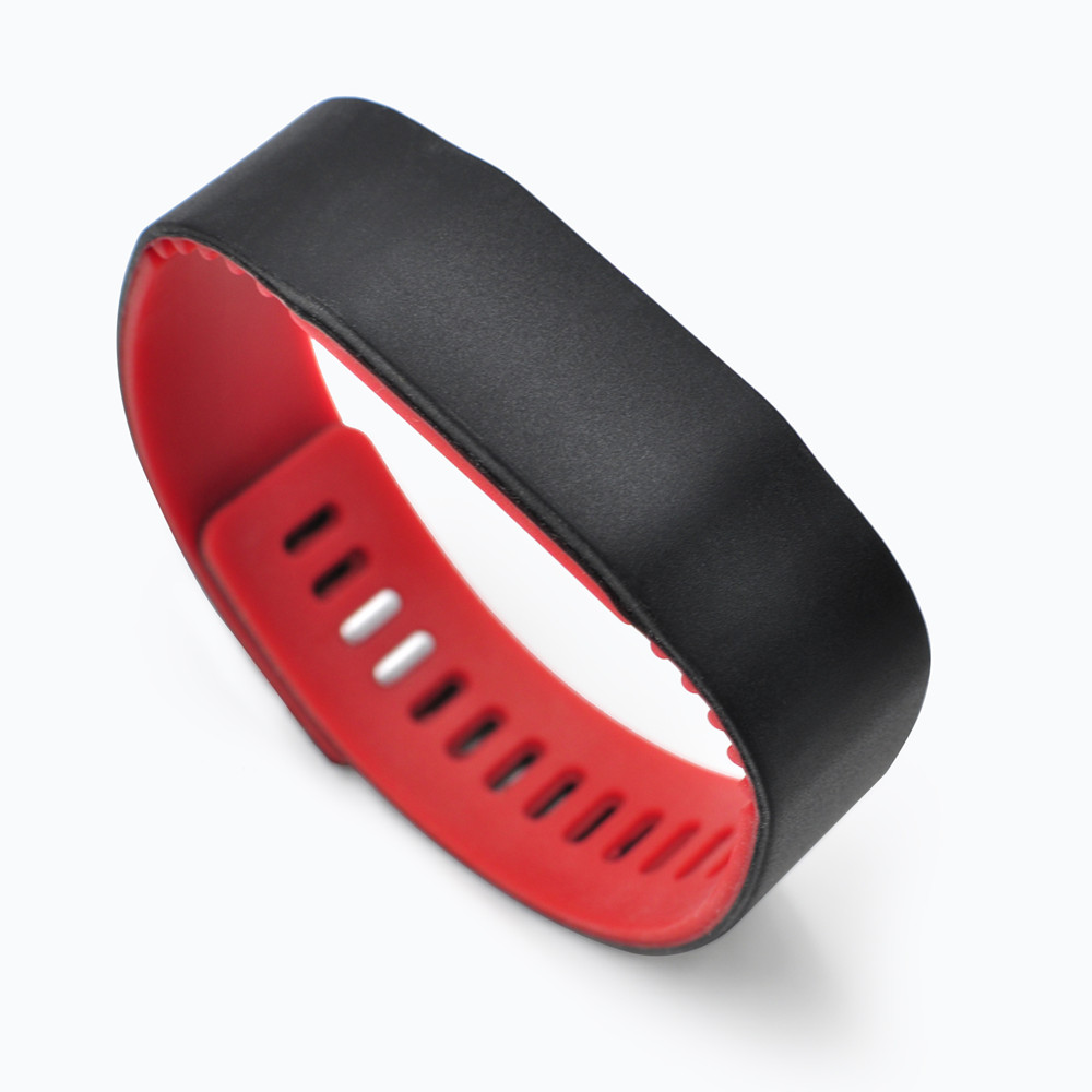 GJ18 RFID NFC Silicone Wristband Reusable Two-color Buckle Bracelets